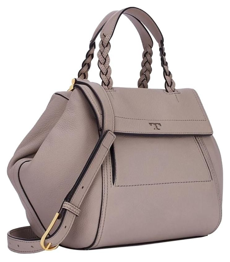 d28d4508c6ea39 Tory Burch Half Moon Small French Gray Satchel.