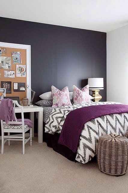 Rec mara gris con morado recamaras pinterest gris for Decoracion hogar gris