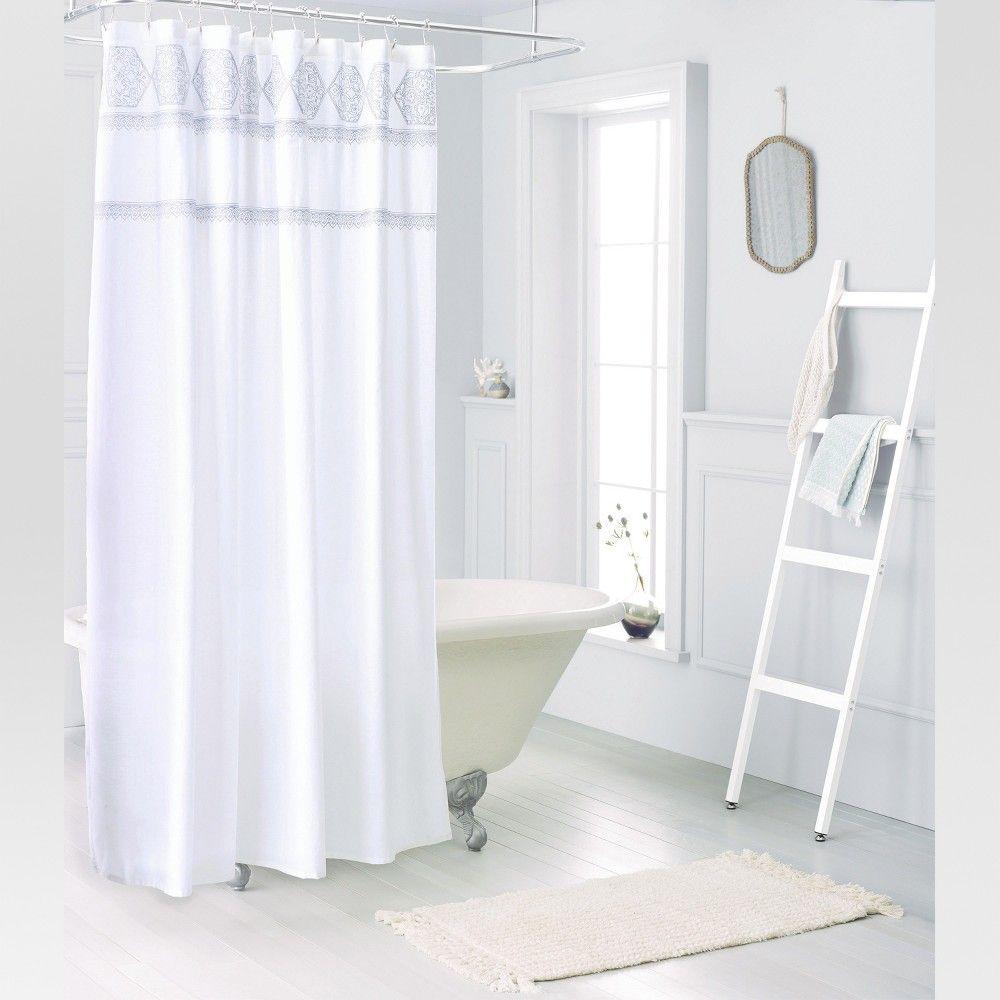 Medallion Sheer Embroidery Shower Curtain White Threshold