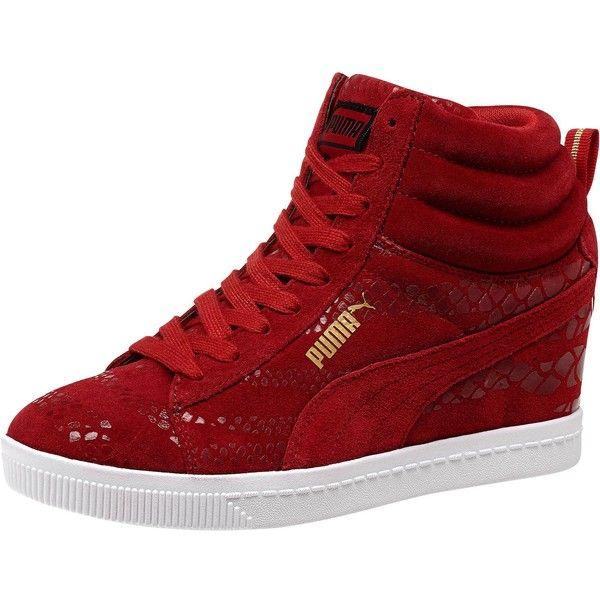 red puma wedge sneakers