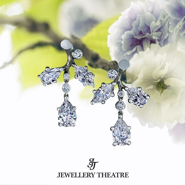 Jewellery Theatre Eden collection earrings are made of 18K white gold using pear shaped and marquise diamonds. There are 12 diamonds used in the pendant, with a total carat weight of 7.54ct. #jewellerytheatre #finejewelry #diamondearrings #peardiamond