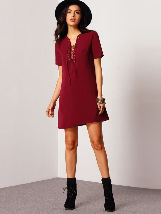 Online shopping for Lace Up Short Sleeve Dress RED from a great selection of women's fashion clothing & more at MakeMeChic.COM.