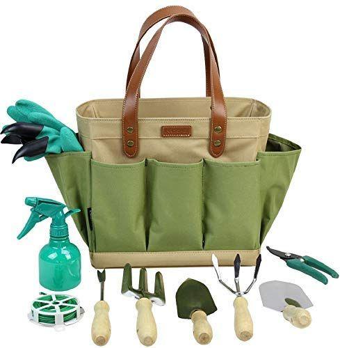 xderlin Gardening Tools Set,Portable 6 Pieces Stainless Steel Garden Tool Sets,Gardening Gifts for Women,Men Green
