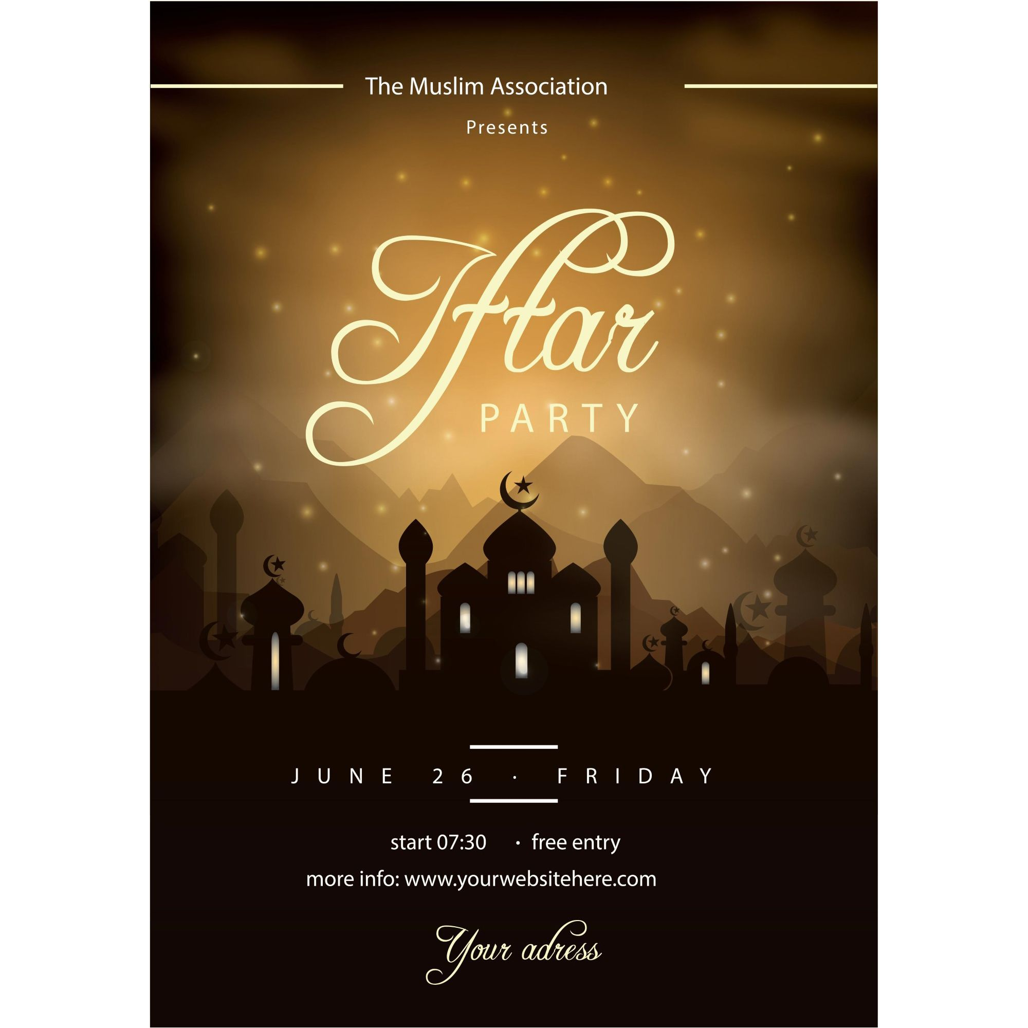 Iftar Party Poster Greeting Card Vector | Eid Mubarak | Pinterest ...