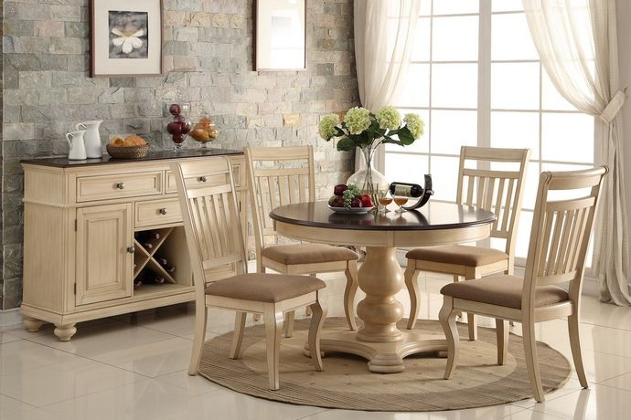 5 Pc Harrison Collection Two Tone Finish Cream Wood Round Dining Table Set  With Fabric Seats