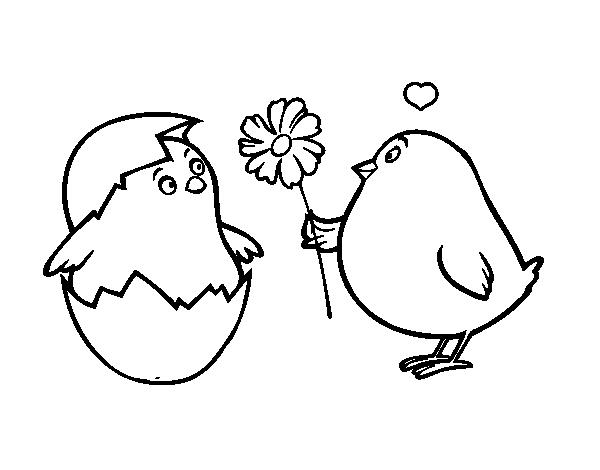 Dibujo de Pollitos enamorados para colorear | San Valentín ...