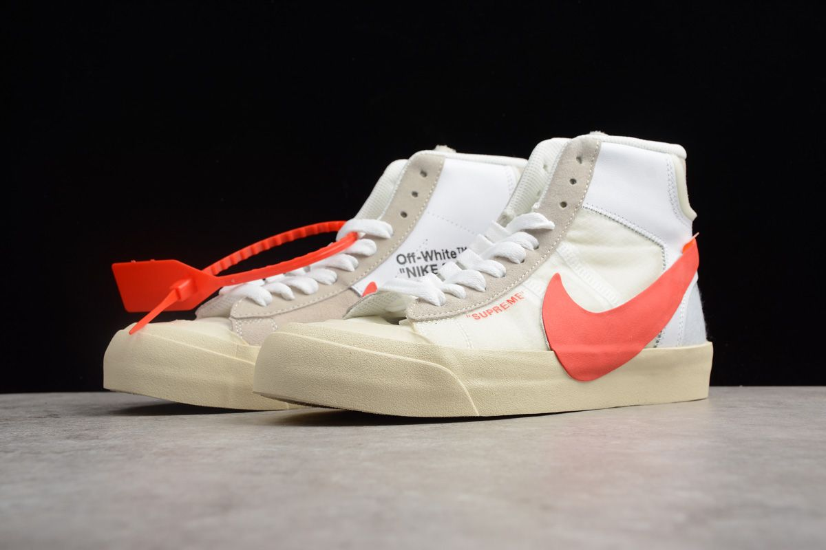 Mens Off White X Nike Blazer Studio Mid Shoes CanvasPale Vanilla Black Total Orange AA3832 700 For Sale