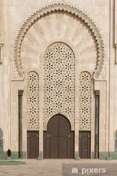 Casablanca, Morocco: Ornate exterior brass door of Hassan II Mos Wall Mural • Pixers® - We live to change