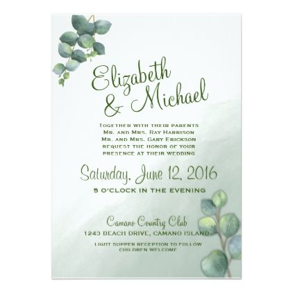 Eucalyptus Watercolor Wedding Invitation - wedding invitations diy - invitation card event