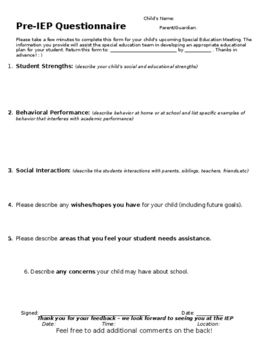 PreIep Meeting Parent Feedback Form Editable  Microsoft Word