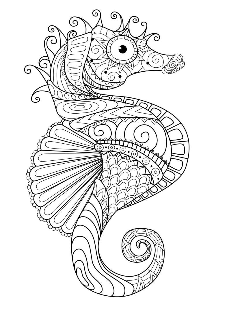 Mindfulness Coloring Seahorse Mandala Coloring Pages Coloring Pages Animal Coloring Pages