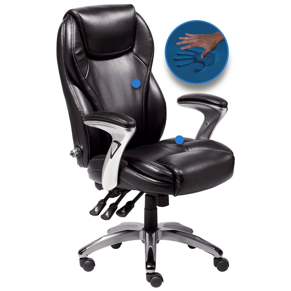 Serta Black Bonded Leather Ergo Executive Office Chair Style 3v036