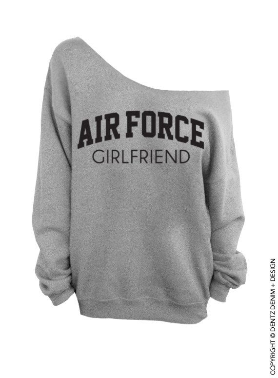 """Use coupon code """"pinterest"""" Air Force Girlfriend - Gray Slouchy Oversized Sweatshirt by DentzDesign"""