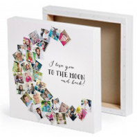 Personalised Photo Collage Moon Shaped Canvas With The Message I