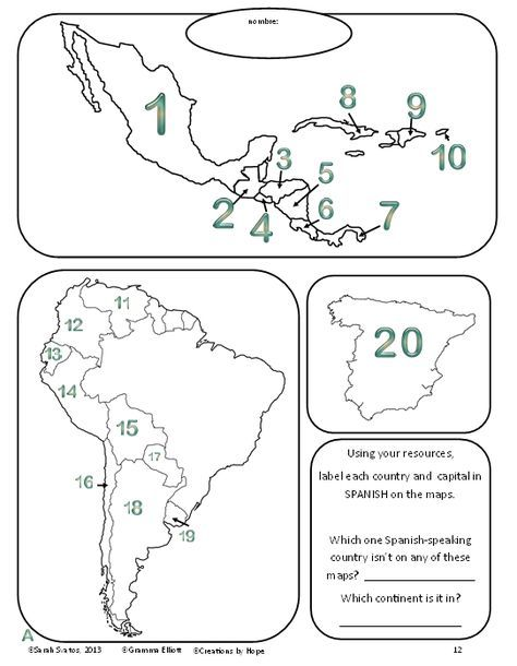 Httpteacherspayteachersproductspanish speaking when do you teach the spanish speaking countries of the world and capitals of course gumiabroncs Gallery