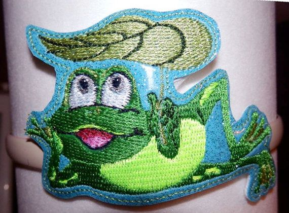 Frog Headband Slider  Machine Embroidery Pattern by WhimsyDolls