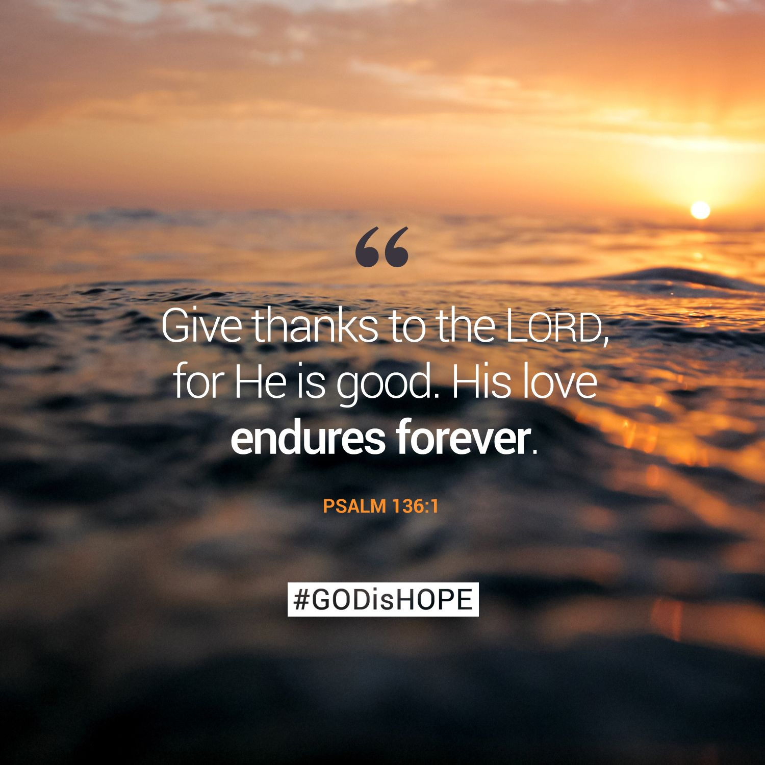 Quotes About Love In The Bible Give Thanks To The Lord For He Is Goodhis Love Endures Forever