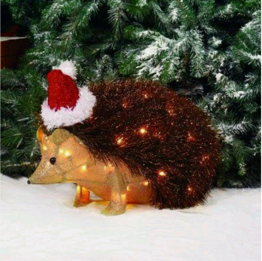 "22"" Lighted Burlap Hedgehog Sculpture Christmas Holiday in"