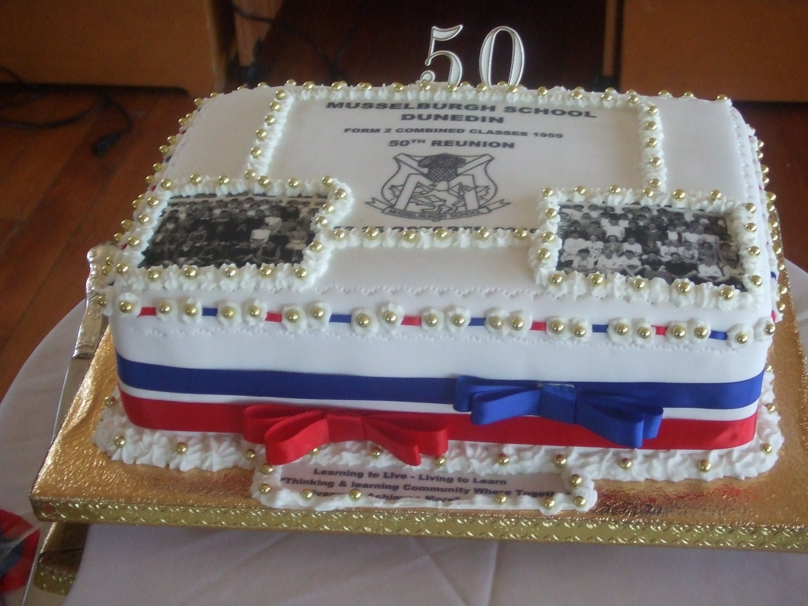 a 50th class reunion cake with images from the 2 clases | 50th Class ...