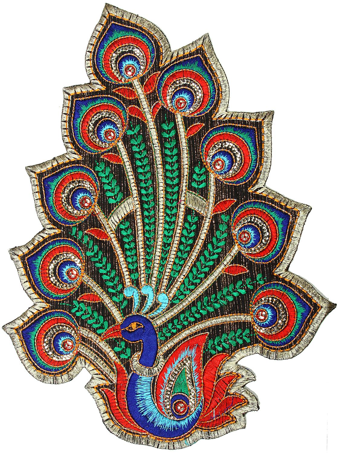 Multi-Color Embroidered Peacock Patch with Sequins