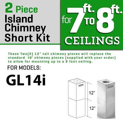 Zline Short Chimney Kit Island Range Hood Under 8 Ft Ceiling Gl14i Models Only Island Range Hood Range Hood Chimney Range Hood