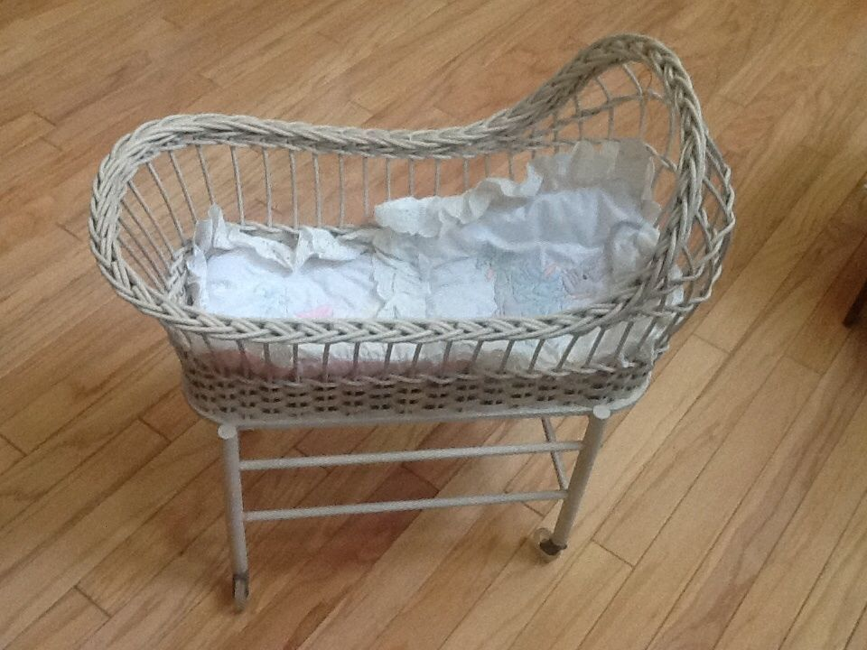 Antique wicker small doll crib w orig plastic wheels for Baby bed with wheels