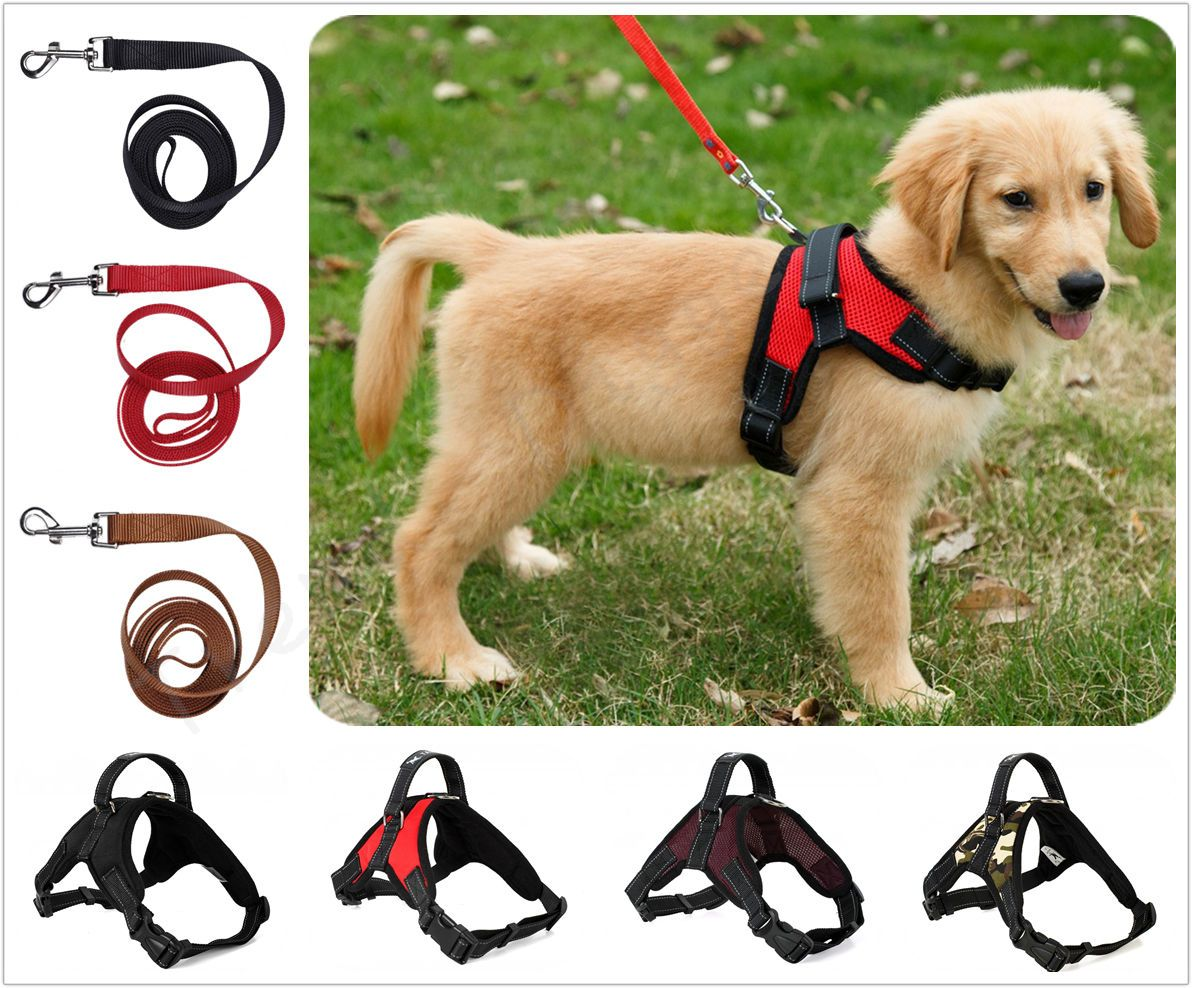 12 79 Dog Vest Harness Leash Collar Set No Pull Adjustable For