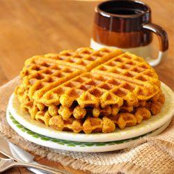 Pumpkin Cornbread Waffles - VEGAN and perfectly sweet and crispy!