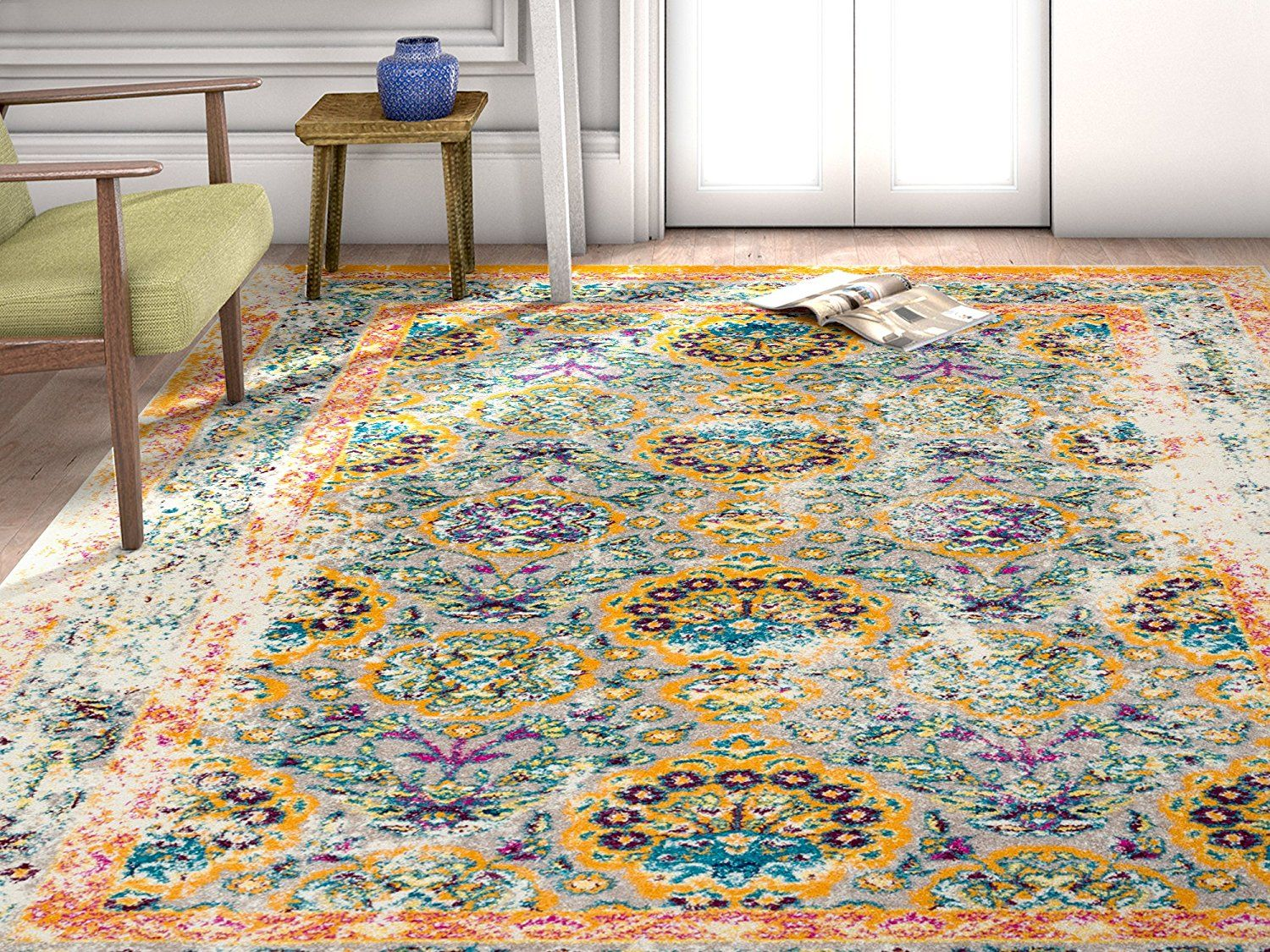 Well Woven Modern Weave Carpet Bright Colored Area Rug Distressed Vintage Persian Floral Orange Beige Blue Home D Well Woven Area Rugs Rugs