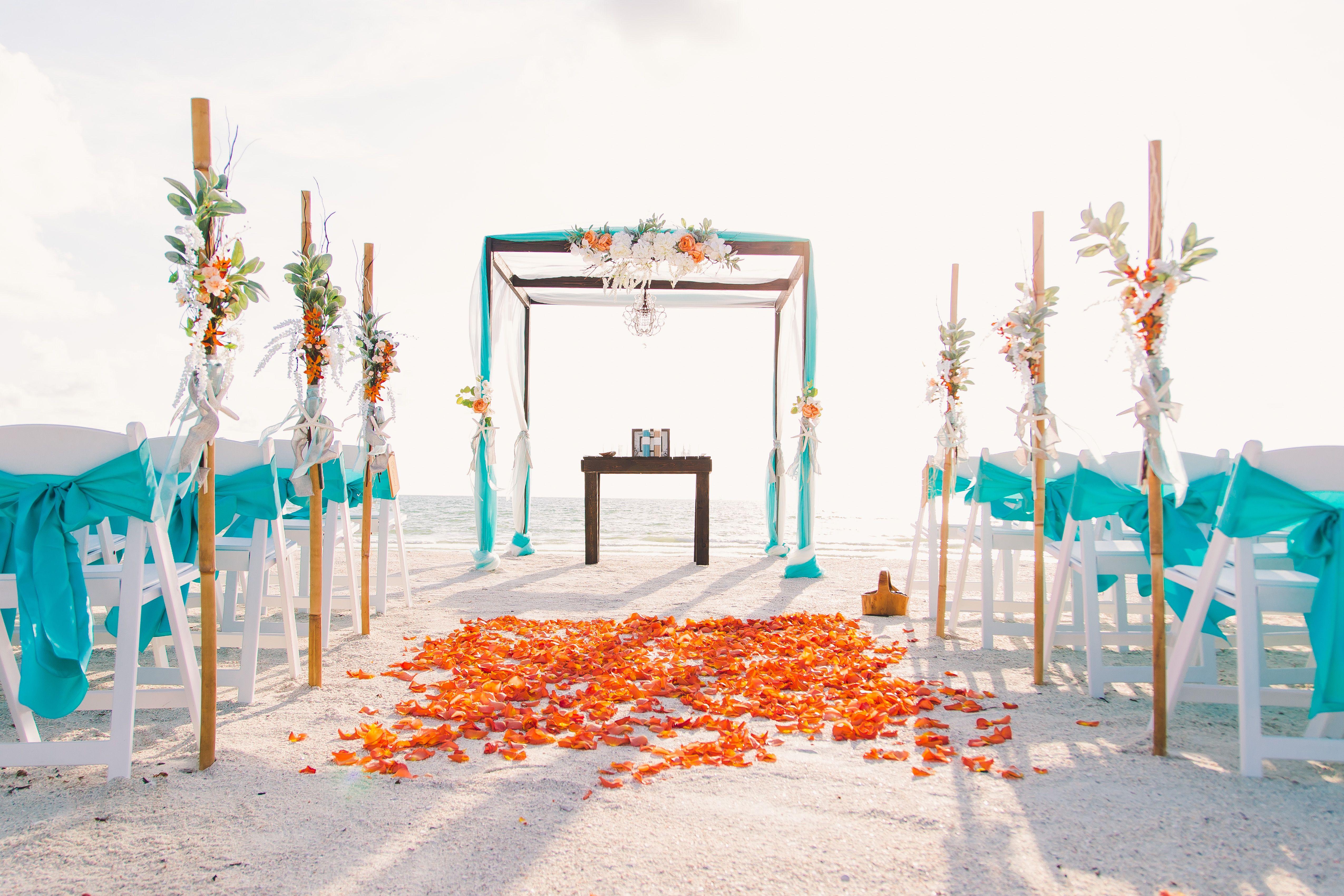 Turquoise And Orange Beach Wedding