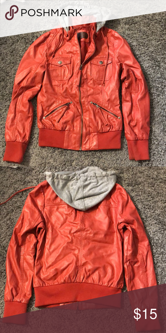 Leather Jacket Ci Sono Red Leather Jacket With Detachable Grey Hood Lightly Worn Ci Sono Jackets Coats Jackets Leather Jacket Clothes Design