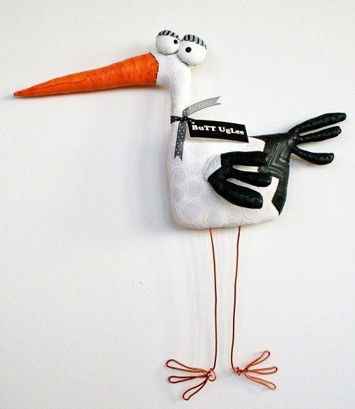 stork named jedrik standing stork baby gift