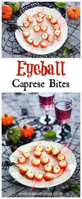 Spooky Eyeball Caprese Bites Recipe - fun easy halloween food - halloween party ideas for kids food