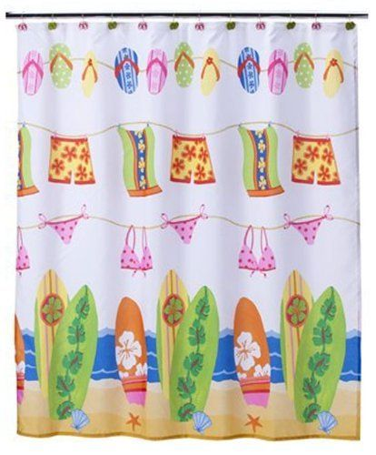 Surfboard Bathing Suit Flip Flop Beach Kids Bright Colored Fabric Bathroom Shower Curtain By Satur Kids Shower Curtain Kid Bathroom Decor Beach Shower Curtains