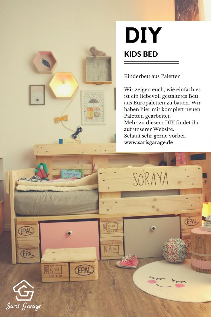 palettenbett f r kinder kinderbett aus europaletten diy anleitung unsere upcycling. Black Bedroom Furniture Sets. Home Design Ideas