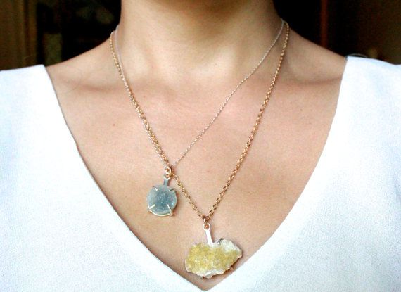 Russian Fluorite Necklace Rough Gemstone Handmade Jewelry