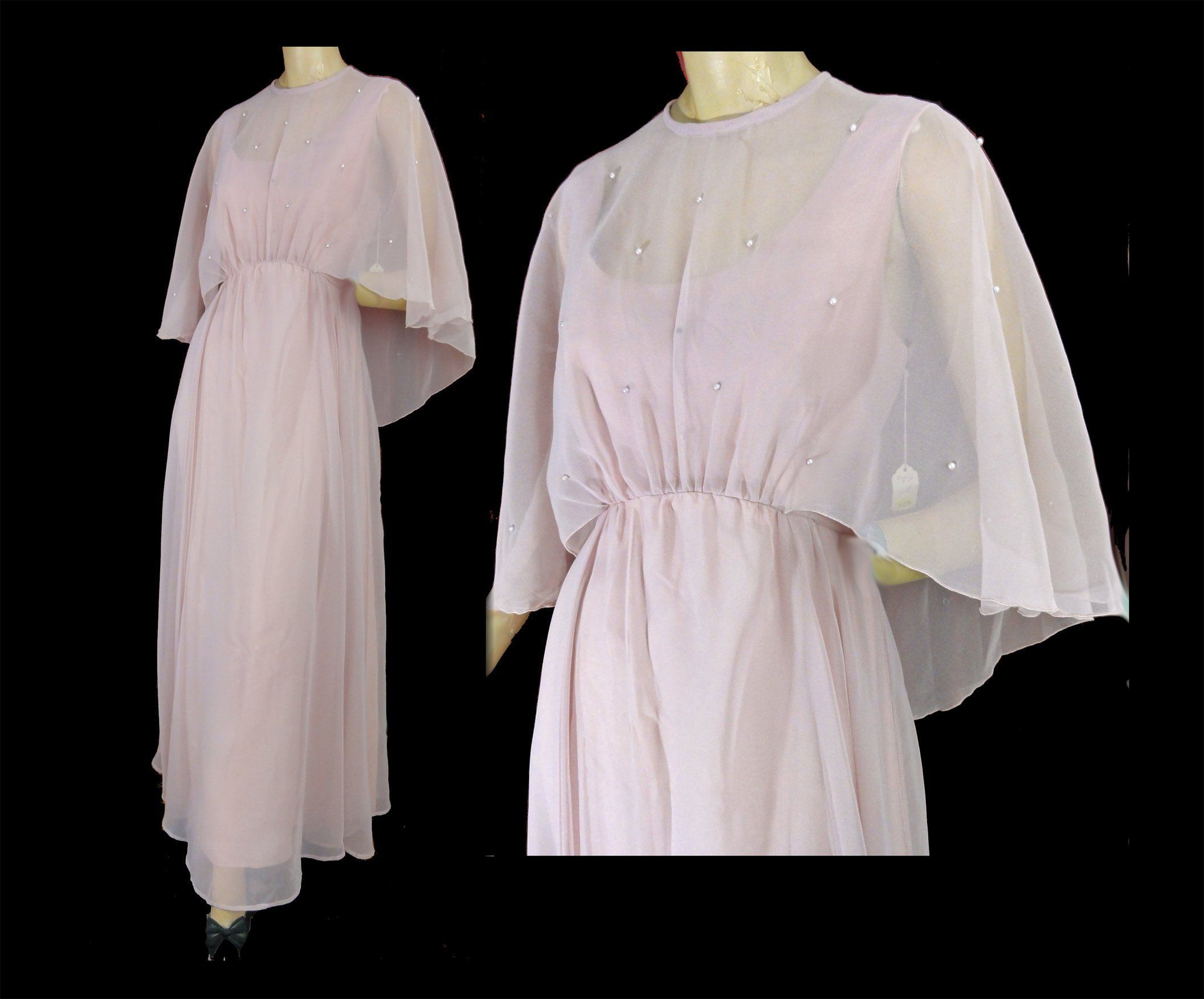 Vintage 70s Orchid Pink Formal Evening Gown Chiffon Cape Disco Etsy Evening Gowns Formal Evening Gowns Beautiful Dresses [ 1753 x 2113 Pixel ]