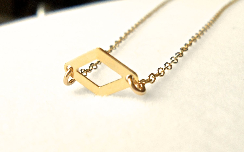 Lebasicsjewelry diamond pendant necklace gold geometric necklace