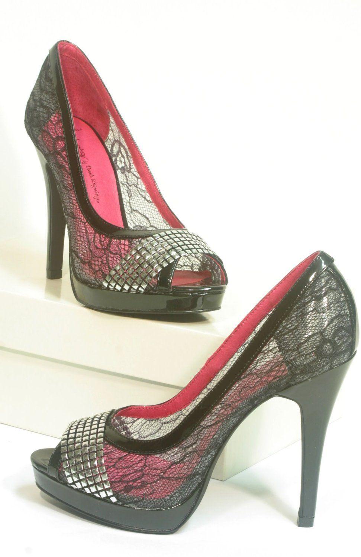 4558 Ladystar by Daniela Katzenberger Peeptoe High-Heels black ... 344e85025b