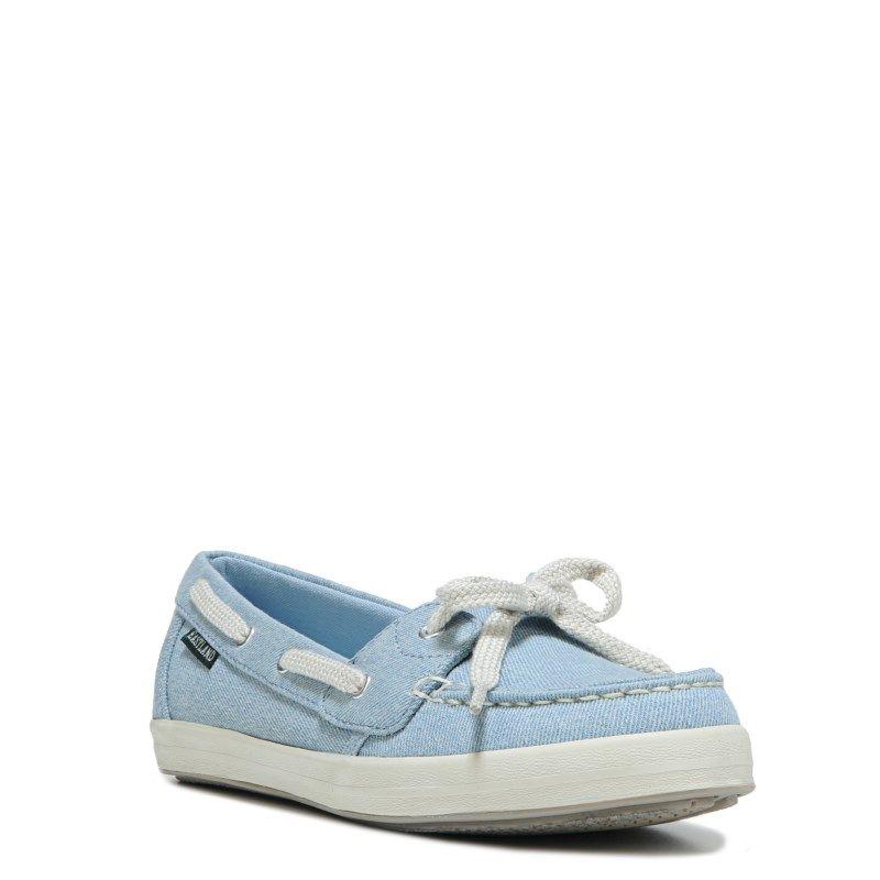 Eastland Women's Skip Memory Foam Canvas Boat Shoes (Light Blue Leather)