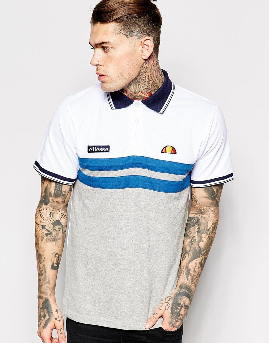 Stephen James Ellesse Polo Shirt With Chest Stripes ❤️