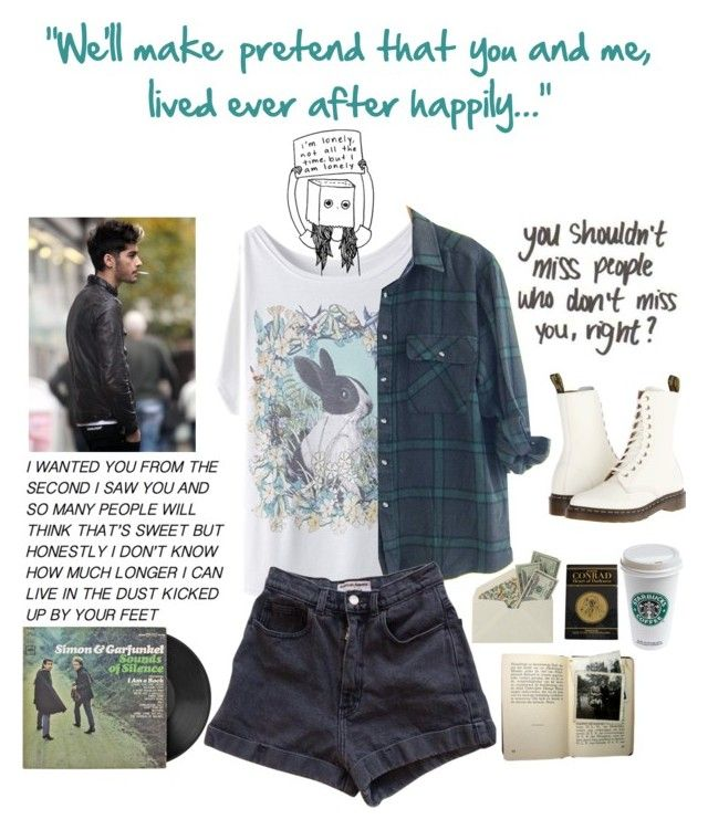 """""""We'll make pretend that you and me, lived ever after happily..."""" by ajfree ❤ liked on Polyvore featuring American Apparel, Dr. Martens, women's clothing, women, female, woman, misses and juniors"""