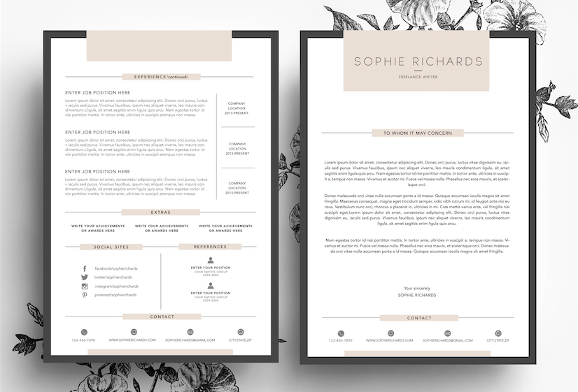 Page Cv Template  Business Card By EmilyS Art Boutique On