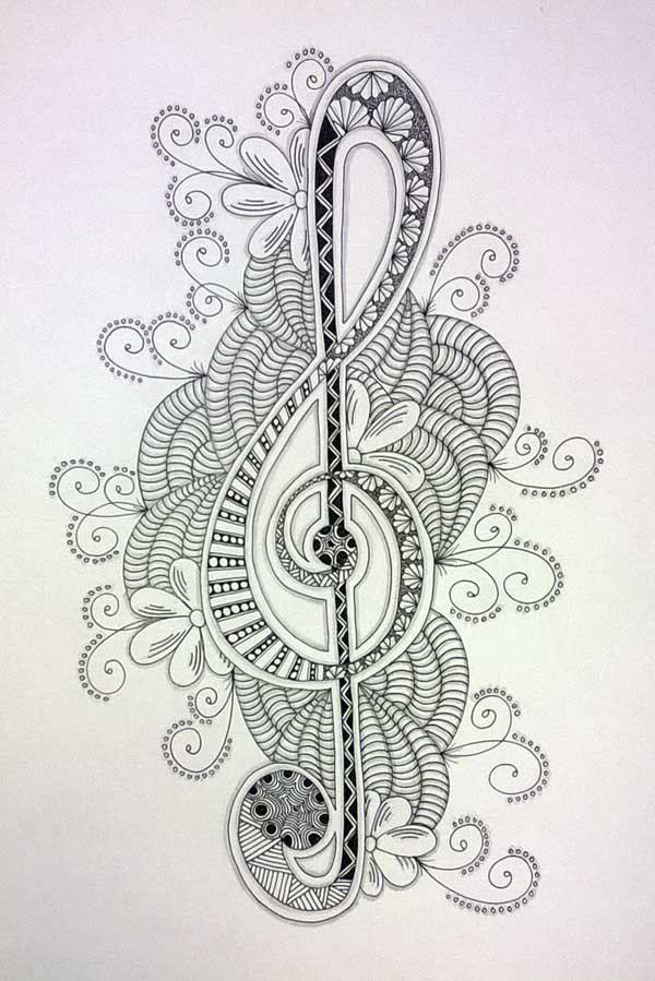 Zentangle Treble Clef Desenhos Zentangle Modelos De Zentangle E