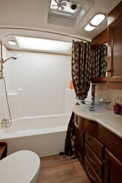 Travel Trailer With Large Bathroom.Huge Bathroom In The Cyclone 4100 Heartland Toy Haulers