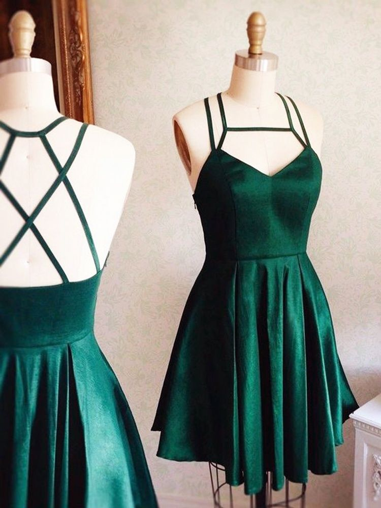 f830d390de5c Simple A-Line Strap Square Sleeveless Dark Green Satin Short Homecoming  Dress Under 100 with Pocket | Dressmeet.com