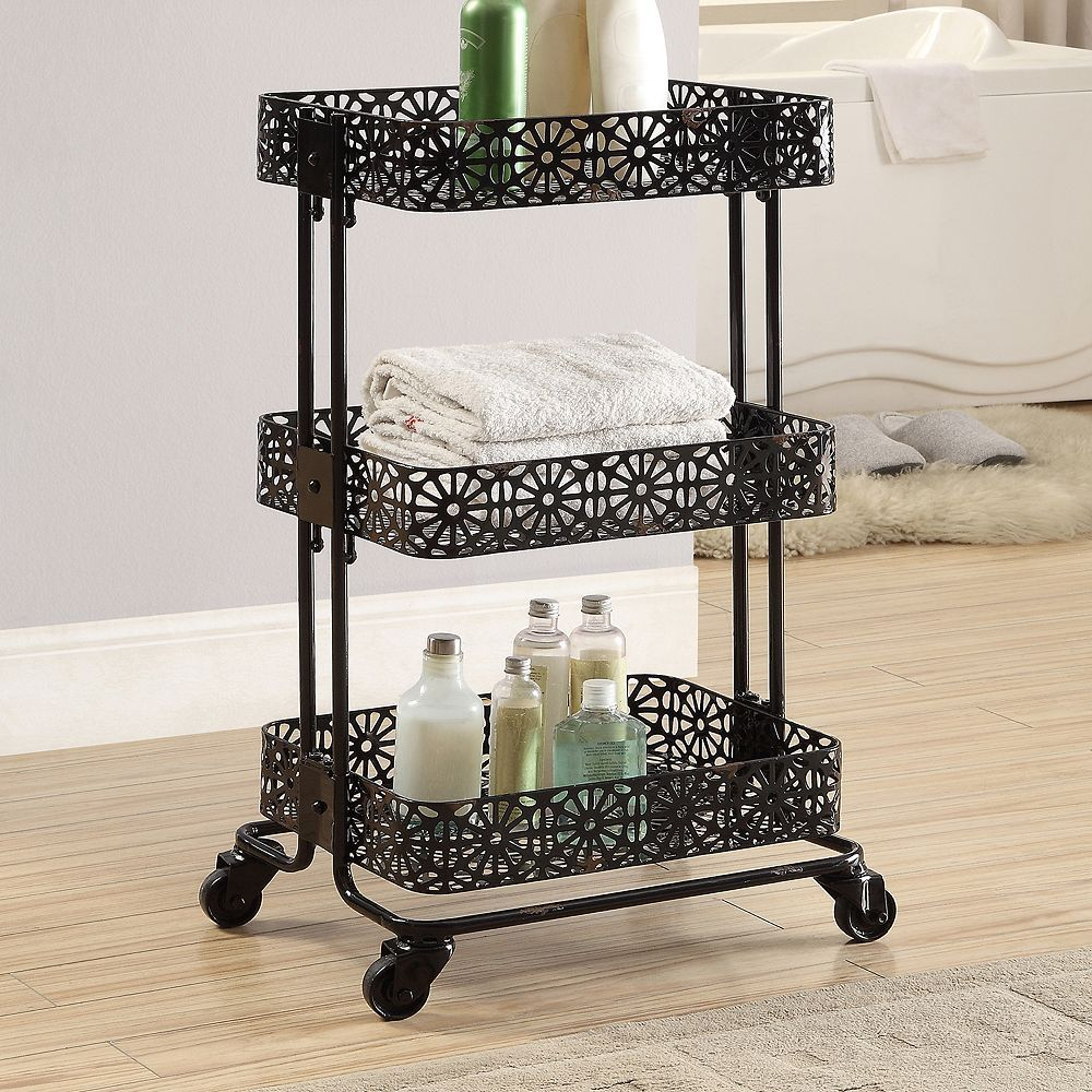 Linon Black 3 Tier Rolling Storage Cart Products Rolling Storage