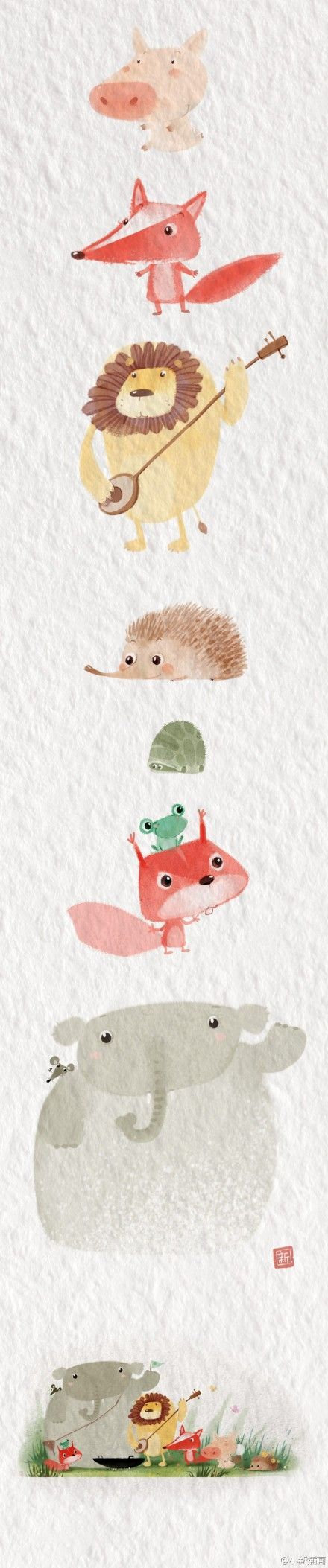 Watercolor animals aesthetically awesome pinterest - Ilustraciones infantiles acuarela ...