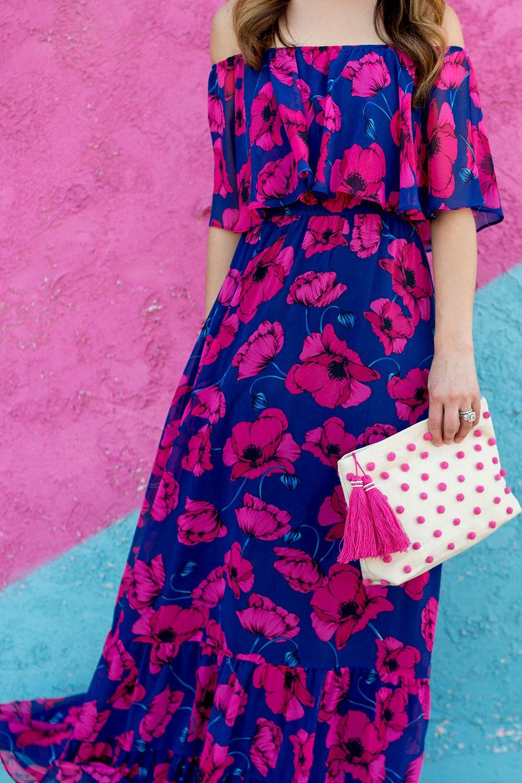 Floral Off the Shoulder Maxi Dress | Donna morgan, Charades and Maxi ...