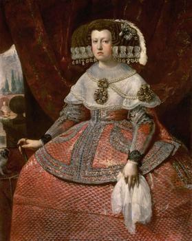 Workshop: Diego Rodríguez de Silva y Velázquez 1599 Sevilla - Madrid 1660    Queen Maria Anna of Spain in bright red dress (1635-1696)  to 1655/1660